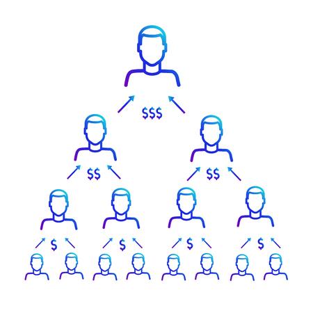 Schemat pracy piramidy finansowej. Program Polecający Ilustracje wektorowe