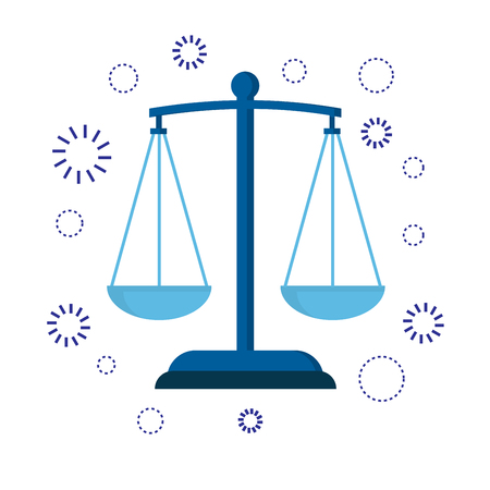 Icon scales of justice. Sign of judge or lawyer. Illustration