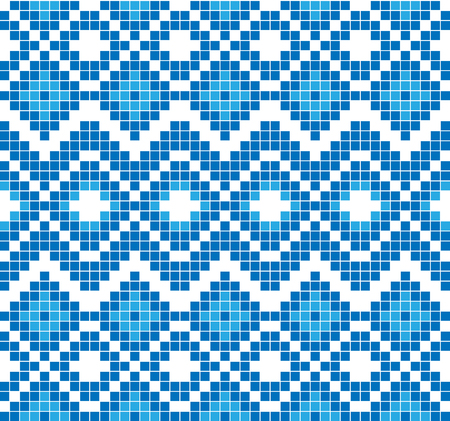 Seamless pattern or ornament of embroidery. Abstract mosaic of blue color.