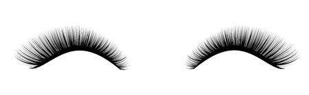 Eyelash extension. A beautiful make-up. Thick cilia. Mascara for volume and length. Vettoriali