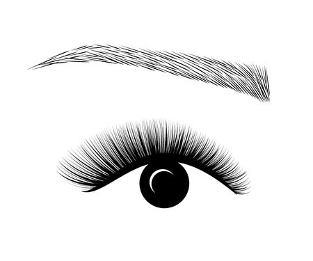 로고 속눈썹 연장. 아름다운 화장. 볼륨과 길이를위한 마스카라. 스톡 콘텐츠 - 85477386