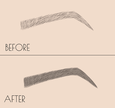 Permanent makeup . Correction of the shape and coloring of the eyebrows. Salon procedure. microblading