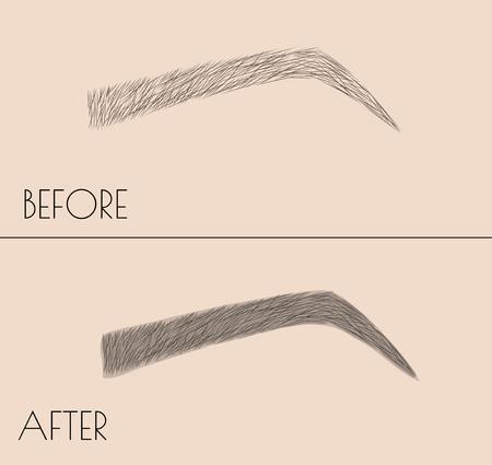 Maquillaje permanente . Corrección de la forma y el color de las cejas. Procedimiento de salón microblading