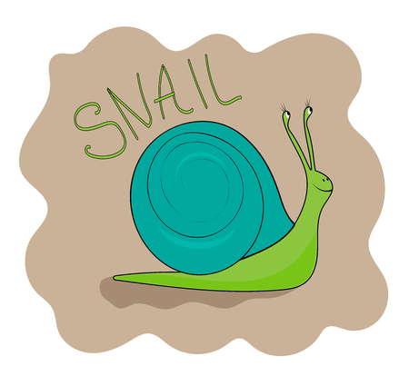 Cheerful green snail smiling Ilustrace