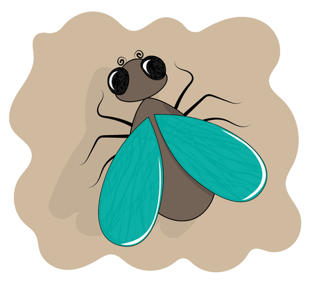 Fly icon flat cartoon insect . Illustration
