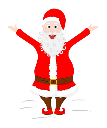 lunatic: Crazy Santa Claus shows his tongue and raised hands