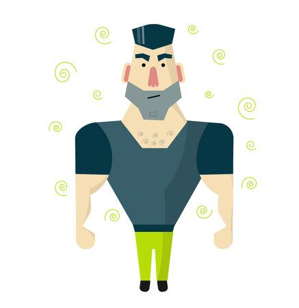 Wrede man met grote spieren. Bewaker of bodyguard