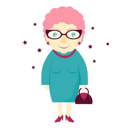 Stylish lovely cute grandmother with a handbag. Elderly woman . The old lady Stock Photo