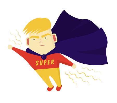 Cute Boy Blondes Super hero purposefully move the target. He flies his hand forward Illustration