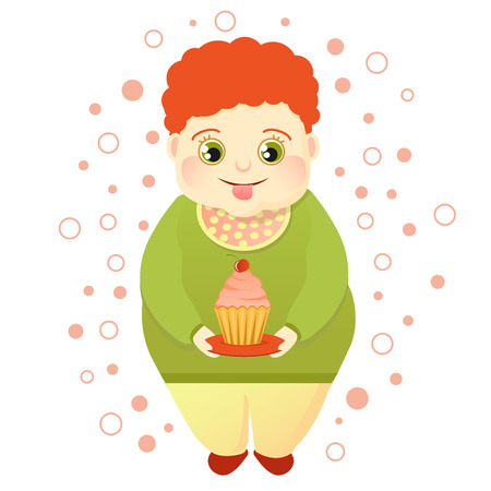 A fat red-haired boy holds a cake and licks himself. Cool sweetheart or lover of sweets. Cute Glutton