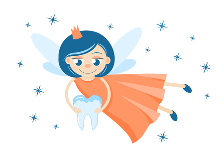 A cute tooth fairy holding a milk tooth Stock Photo
