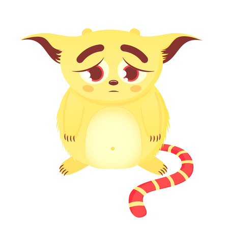 Cute melancholy monster. I m sorry or asking for forgiveness. A funny creature Иллюстрация