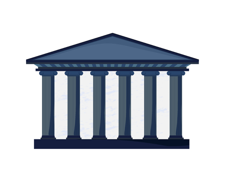 Facade of a court building with columns in Greek style. Sign of Justice and Education. Vector