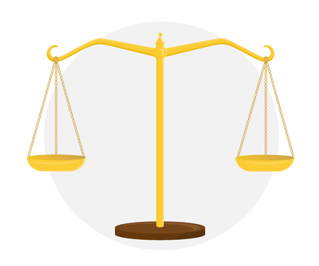 Golden scales of justice. Sign of the court