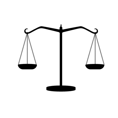 Silhouette of antique weights. Libra. Scales of justice.
