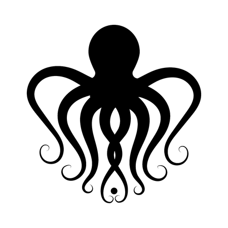 black silhouette of an octopus. logo for a seafood restaurant or frozen product. emblem for diving or oceanarium. Illustration