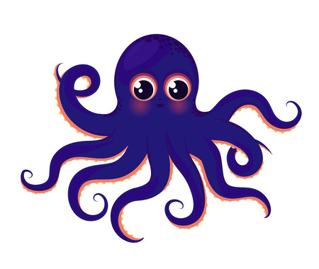 Cute blue octopus. Animal of the ocean. Illustration