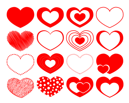 set of 16 vector hearts on the Saint Valentine day