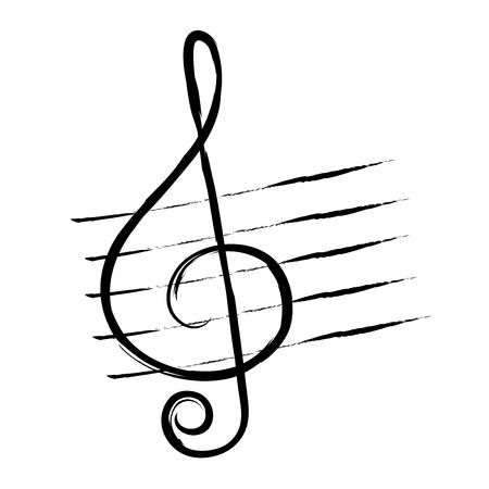 グランジスタイルやヴィンテージで描かれた手、高音のクリーフ。音楽記号。