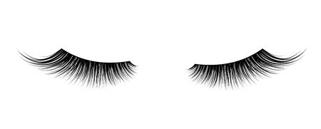 Black False eyelashes. Mascara single decorative element. Vector Çizim