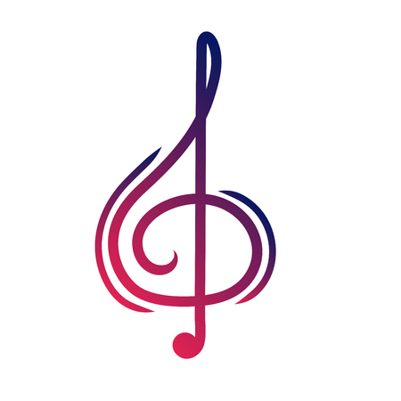 A treble cleaver is a symbol of music. Sign of melody and song. Vector Çizim