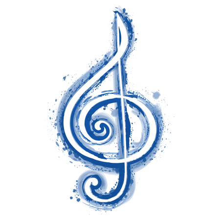 watercolor sign treble clef for a musical concert poster Illustration