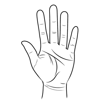 The open hand is lifted up. Divination by lines on the palm.