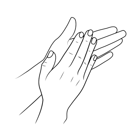 Clapping hands or applauding, linear illustration or sketch by black stroke Vettoriali