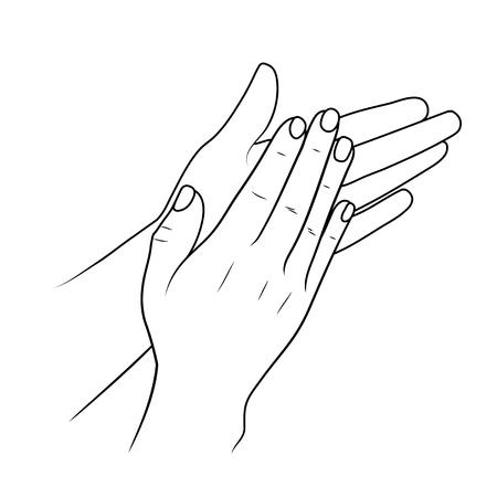 Klappende handen of applaudisseren, lineaire afbeelding of schets door zwarte lijn