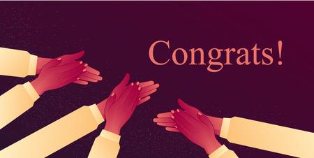 축하해, 박수 갈채를 보내며 성공 축하. 그들의 손을 박수, 폭풍우의 ovations.