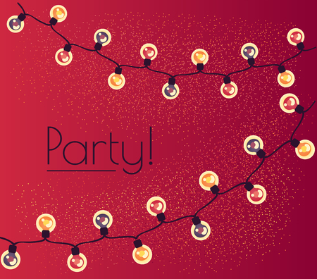 garland of twinkling lights. Illumination for a party Ilustração