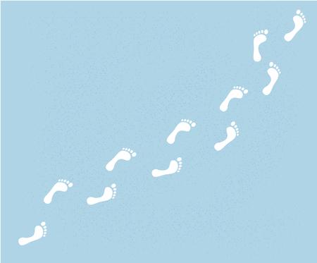 yeti foot prints on the snow. bigfoot walk. Vector Illustration