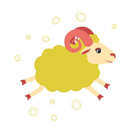 Lovely little lamb jumped. Illustration of an animal from a farm. Vector Illustration
