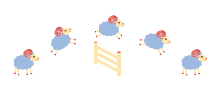 Herd of lamb or sheep jumping over the fence. Vector