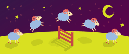 Count lambs and rams for sleep, baa-lamb jump over the fence vector.
