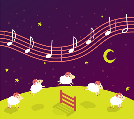 baby song lullaby before bedtime. Lambs jump over the fence. music in the starry sky Stock Illustratie