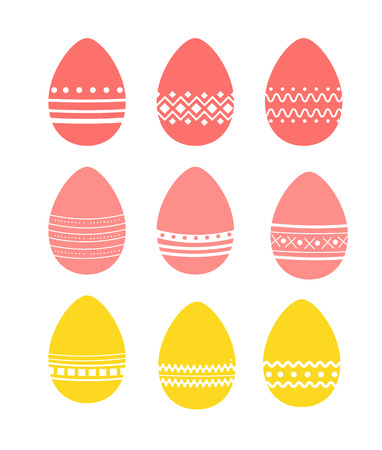 set of Easter eggs with various patterns