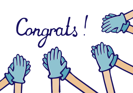 applause of congratulations. Hands in medical gloves Vector Illustration