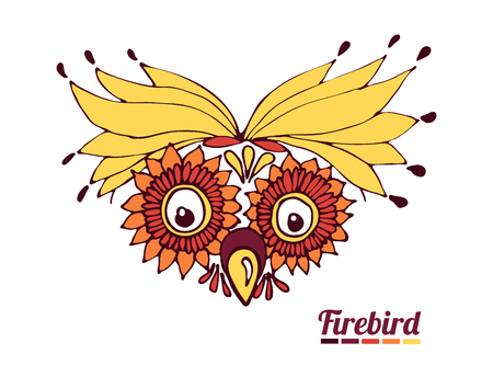 funny muzzle firebird. a fantastic parrot or an owl Vector illustration.  イラスト・ベクター素材