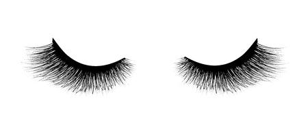 Estensione ciglia, mascara per volume e lunghezza. Illustrazione vettoriale su sfondo bianco. Vettoriali