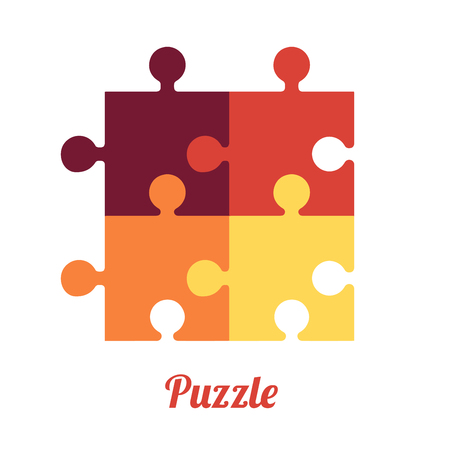Four Folded Puzzles Smart logo and symbol of logic Vectores