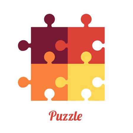 Four Folded Puzzles Smart logo and symbol of logic Vettoriali