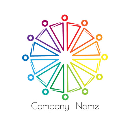rainbow logo sociocultural relations and equality. people stand in a circle holding hands