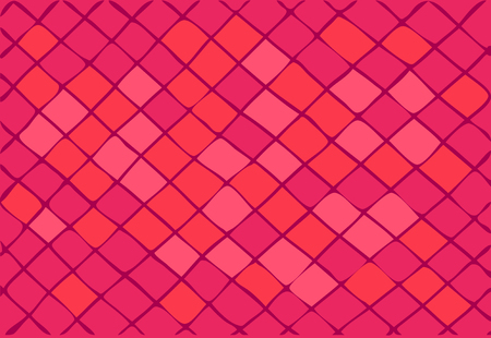 A bright pink background consisting of squares and rhombuses.