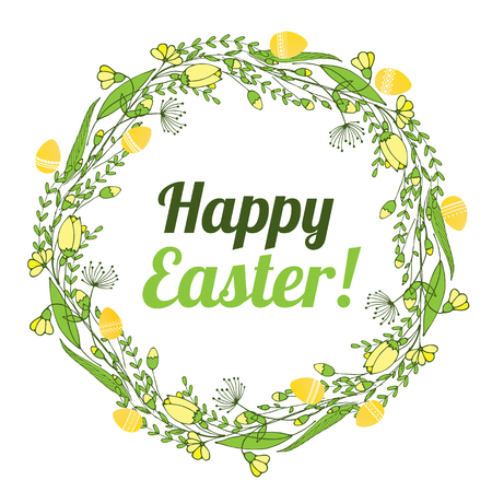The inscription of a happy Easter in a wreath of flowers and eggs Vector