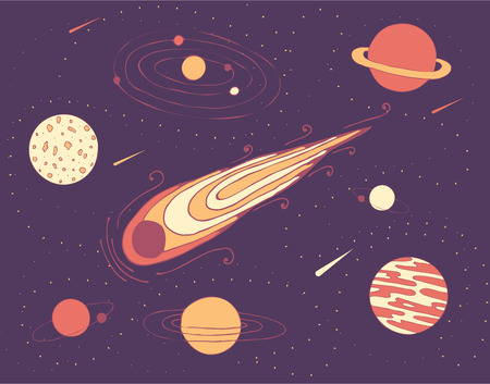 Space illustrationa of cosmic planets, a meteorite and a galaxy in starry sky.