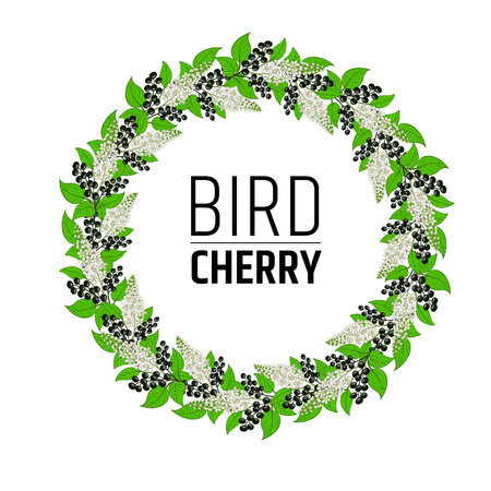 wreath with flowers and berries bird cherry. elements for design.