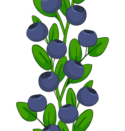 Blueberries seamless pattern, ornament leaves and berries of bilberries on a branch. Forest plant huckleberry. Isolated endless twig of whortleberry or blueberry.