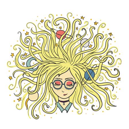 La ragazza sogna ad occhi chiusi. I capelli biondi del pianeta e della star. Processo creativo o meditazione.