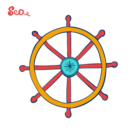 handwheel or Steering Wheel. Symbol of a cruise excursion. Marine illustration